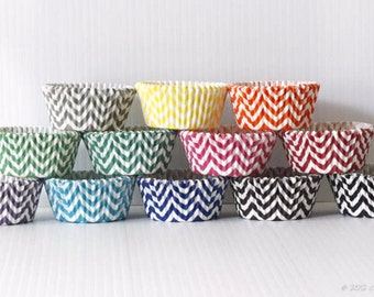 Chevron Cupcake Liners, Set of 100 Paper liners Greaseproof cake Liners Party Baking Cups