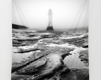 Lighthouse wall art, lighthouse tapestry, photo tapestry, large wall hanging, black and white decor,  large wall art, oversized art
