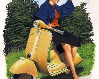 Carol, Vintage, Lambretta, Pinup, Scooter, Ltd Edition Print
