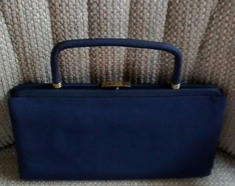 Vintage Navy Colored Purse with Fold Away Handle