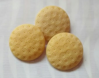 Vintage Bakelite Buttons Set of Three Ivory Color