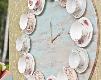 Vintage teacup clock