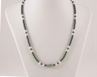Green & White Swarovski Necklace and Kyanite Crystal Pendant