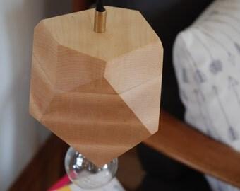Geometric Maple Faceted Block Pendant Lamp - Wood Pendant Light - Brass and Maple - Minimalist and Modern Design - Lighting