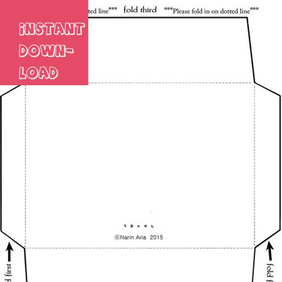 A6 envelope template instant download digital print by for Etsy shop policies template