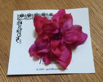 MAGENTA Beautiful and Fun Silky Floral Bloom Flower Hairclip... Wedding... Bridal... Bridesmaids... VLV... Anytime Hair Clip