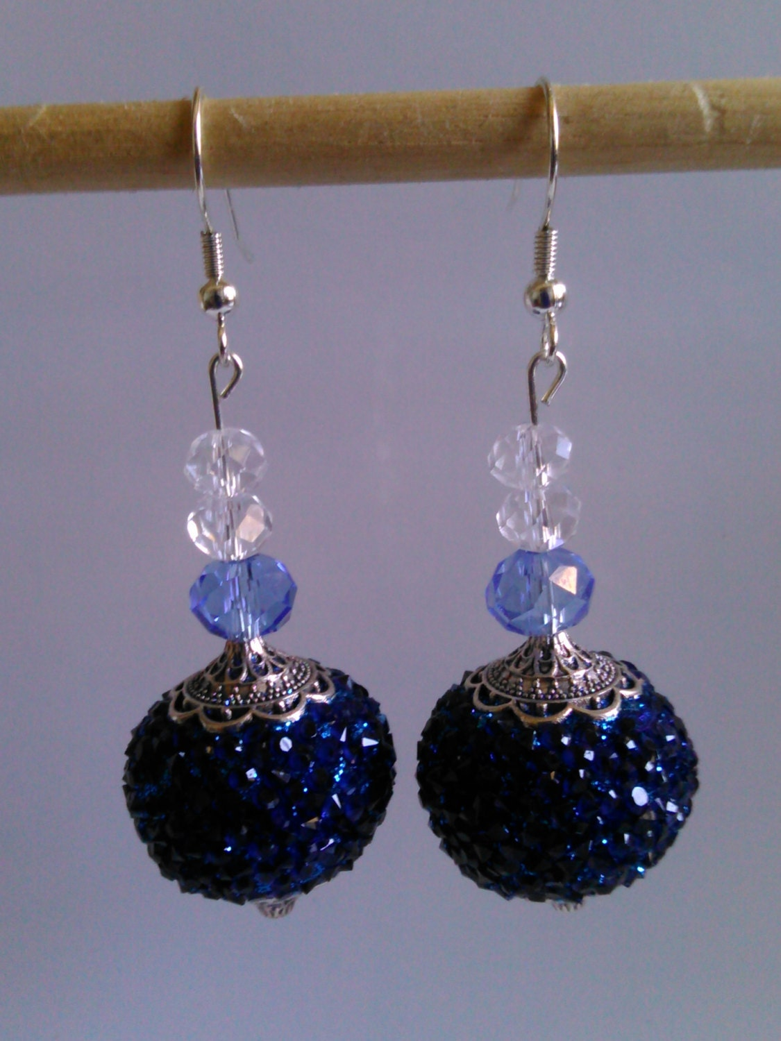 Dark Blue Shattered Glass Ball Dangling Earrings