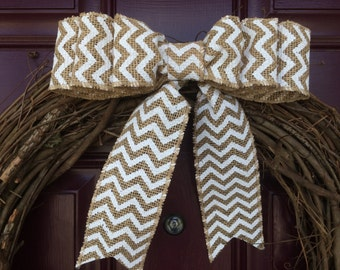 Triple burlap bow, white chevron burlap, Bow for wreath, 6 loop burlap bow, Burlap bow