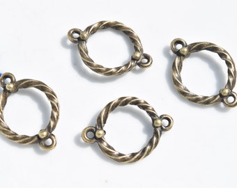 8 bronze connector charms  | jewelry connectors | bronze connectors | jewelry supplies | bracelet connectors | earring connectors