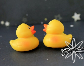 "Rubber duckie duck plugs for gauged ears 14mm 9/16""   stretched ears yellow"