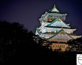 """High Contrast Osaka Castle """"Shogun Dusk"""" - Fire Art Photograph (9.5"""" x 13.25"""" Digital Print on 14"""" x 18"""" Board and Mat)"""