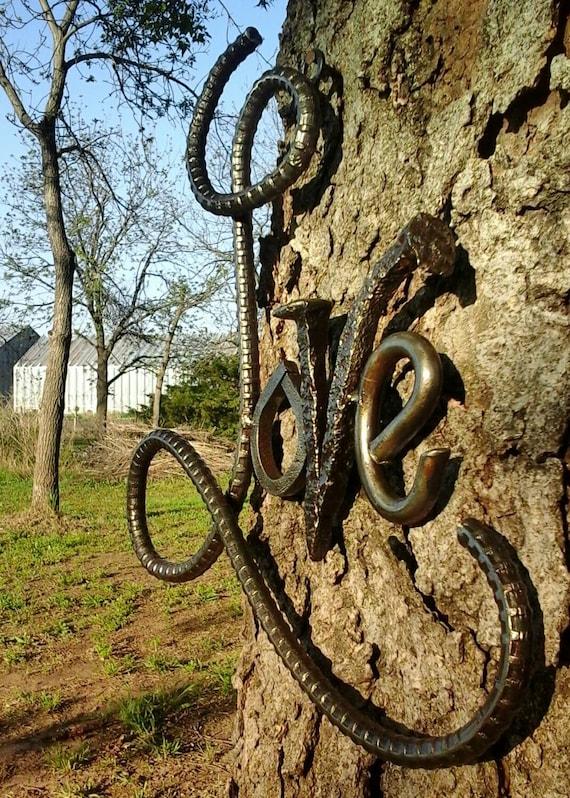 Items similar to rebar love sign wedding gift metal art for Welded garden art designs