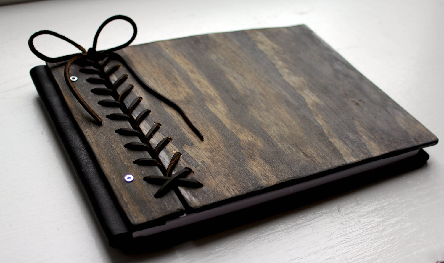 Personalized Artist Sketchbook Unique Rustic Wood Amp Leather