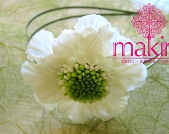 Flower Headband with white scabiosa, Flower crown, headband, headpiece. Hair flower. Clay hair flower. Flower Hair accessories