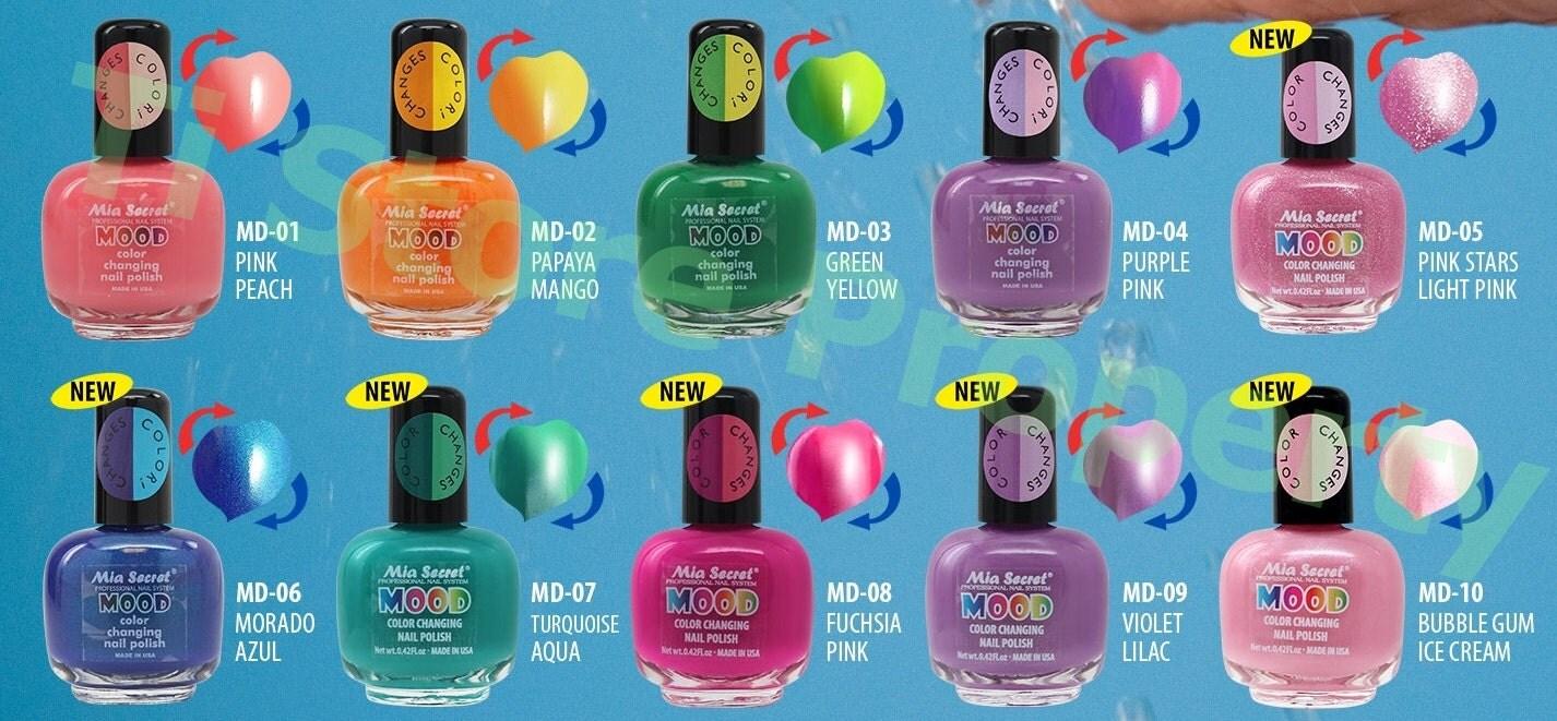 1 set of 10 Colors of Mia Secret - Mood Color Changing Nail Polish ...
