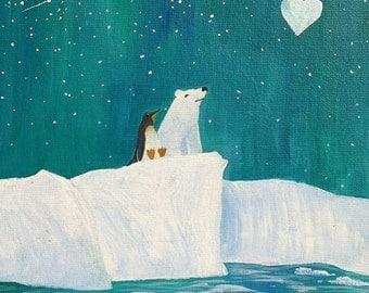 Polar Bear and Penguin - Art Print 8x10