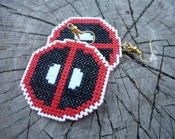 Cross stitch earrings Deadpool