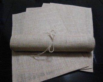 Burlap PLACEMATS –  (set of 4) Table mats Kitchen Dining Country Wedding Decor