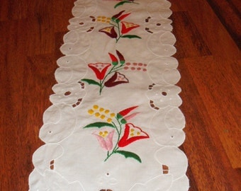 Hand made hand embroidered madeira table runner
