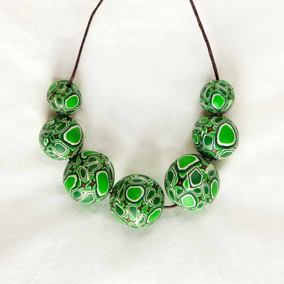Polymer necklace, necklace, jewellery, bib necklace, green, chunky, funky, polymer clay, bold, beaded, handmade, spring, fimo, colourful