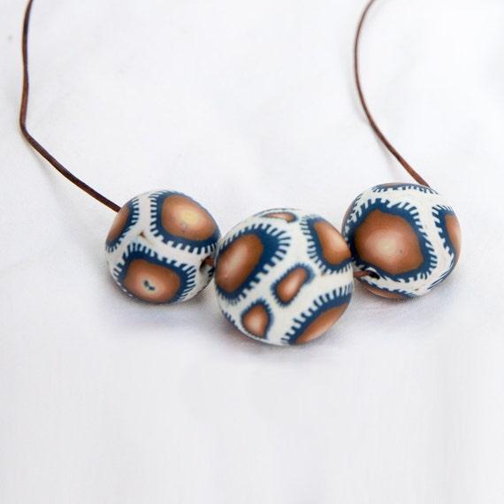 Polymer necklace, necklace, jewellery, big beads necklace, bib necklace, chunky, funky, unique, beaded, colourful, blue, boho, long, blue