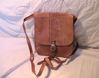 Vintage 1970's Handmade Light Brown Leather Handbag Shoulder Bag