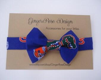 Gator boy bow tie; UF Bow tie; boy bow tie; toddler bow tie; blue bow tie; boys adjustable bow tie; fabric bow tie; lbaby bow tie