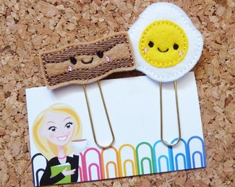Felt BACON and EGGS Bookmark | Paper Clip | Planner Clip | |Organizer | Calendar | Planner Accessory | 1103 253