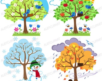 Four Seasons Trees Clipart  Seasonal Trees and Birds Clipart Clip Art Vectors - Commercial and Personal Use