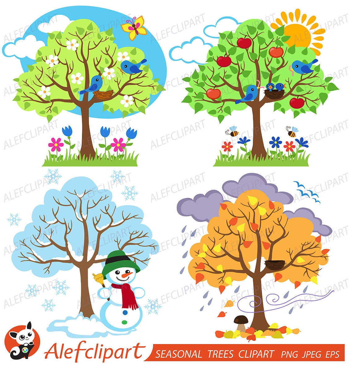 Four Seasons Trees Clipart Seasonal Trees and Birds Clipart