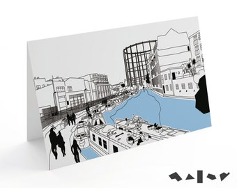 Gas deposit at Regent's Canal by Broadway Market. London Lines greeting cards. LLC25