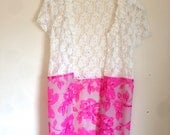 Handmade summer lacey & hot pink floral kimono jacket size S
