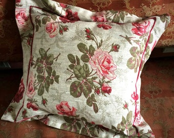 Handmade floral linen cushion cover 40cm x 40cm in reds and greens