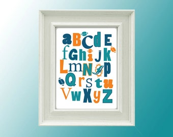 Miami Dolphins Abc Art, Football Abc Print, Alphabet Nursery Print