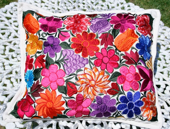 mexican floral embroidered pillow cover by alittlemarket ...