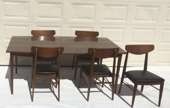 mid century 1950s stanley furniture dining room table with 5 chair set