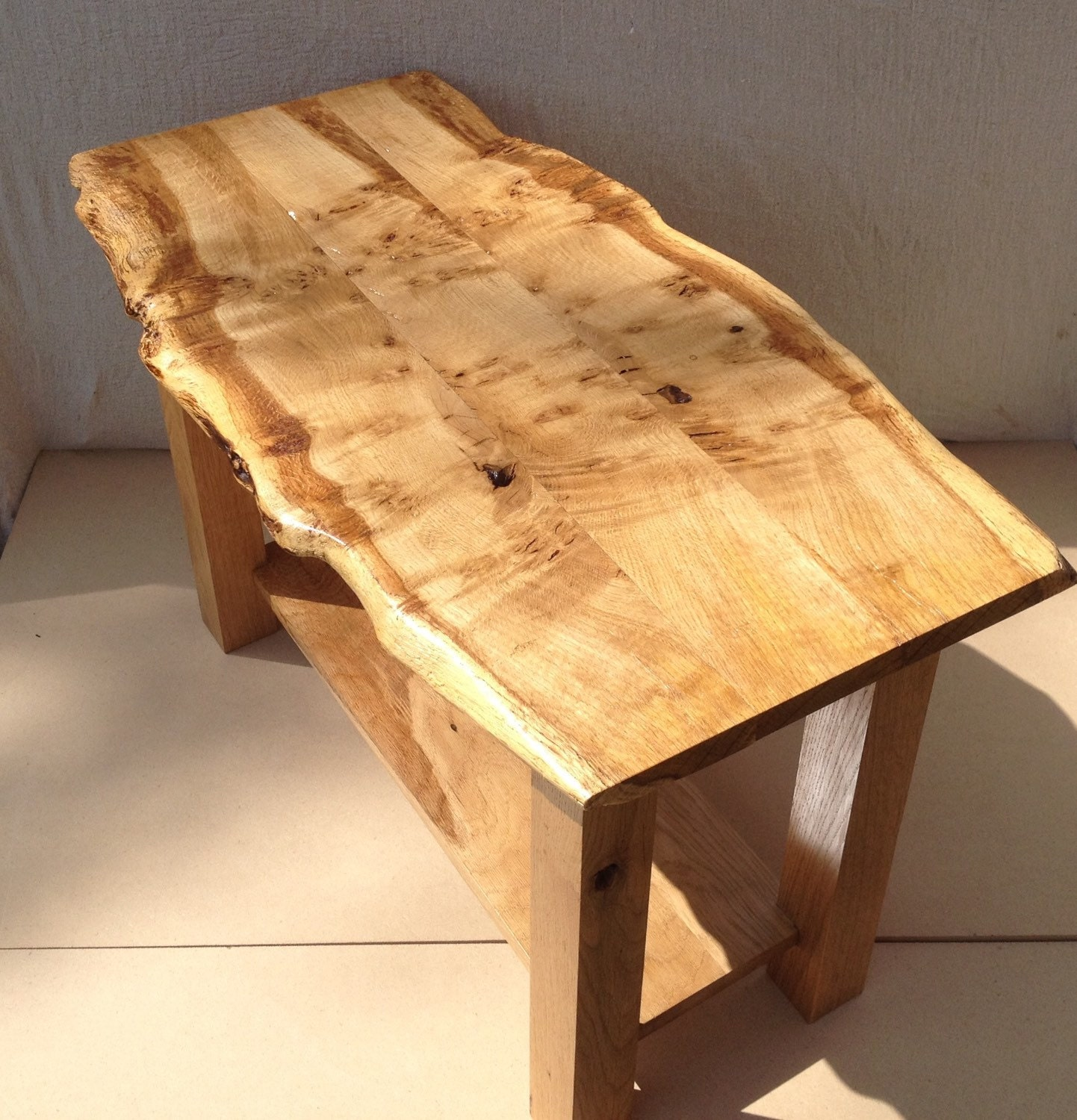 Live edge table oak coffee table waney edge coffee table Live wood coffee table