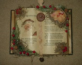 Primitive Night Before Christmas Book With Sleeping Mouse And Tealight Candle
