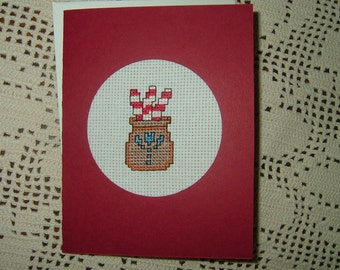 Completed/Finished Handmade Cross Stitched Card~Crock With Peppermint Sticks