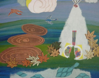 Teepee, Original Mixed Media on Canvas, Wall Art / Landscape Collage / By Canadian Artist, Kim Jones