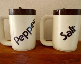 Vintage Plastic Salt and Pepper Mugs - 1970s