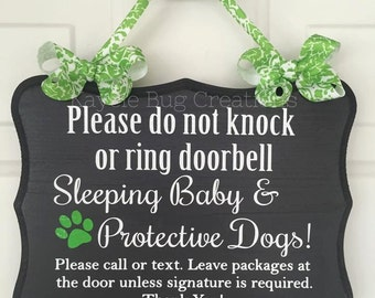 Sleeping Baby & Protective Dogs Custom Front Door Wooden Sign Hanger