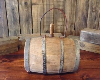 Primitive Wooden Farm Water Barrel / Keg / Canteen