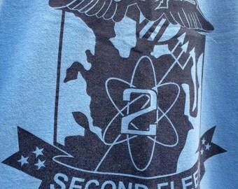 1990's vintage US Navy Second Fleet logo ringer T shirt