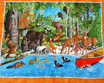 Woodland animal fabric panel. Forest Friends fabric. Bear. Deer. Critters. Scenic lake. Pond. Fox Moose. Nature Quilt panel. Quilting cotton