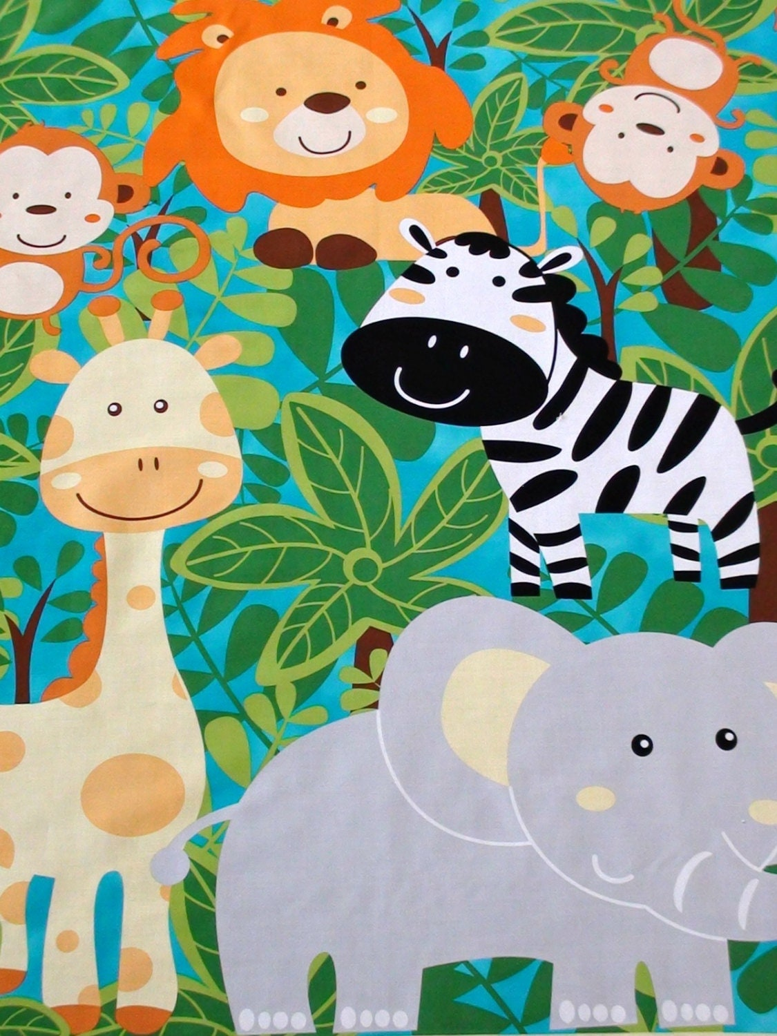 Jungle animal fabric panel nursery cot panel baby quilt for Childrens jungle fabric