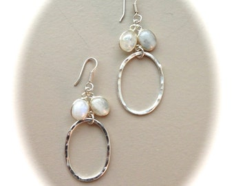 Moon Stone Silver Hammered Hoops