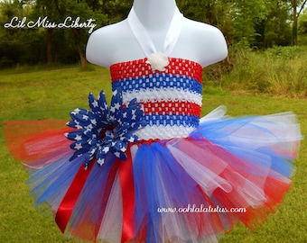 "4TH Of JULY PATRIOTIC Red White & Blue  ""Lil Miss Liberty"" Custom Made  Boutique Quality"