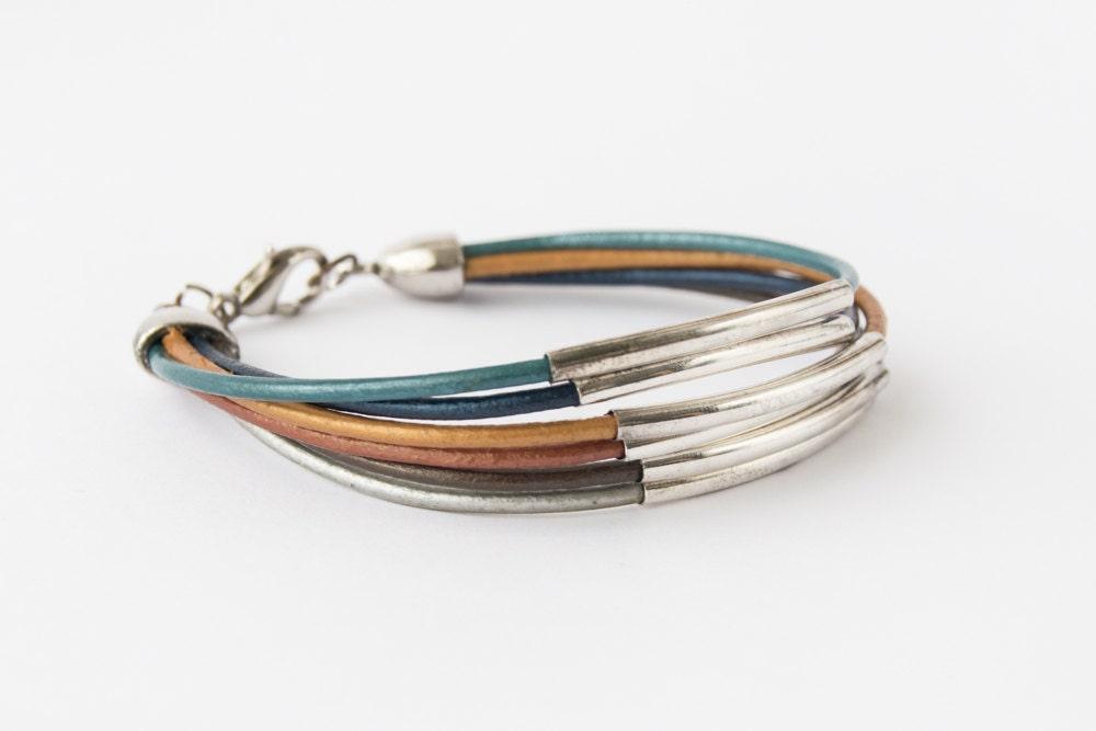 woman colorful leather cord bracelet multi silver tone tube