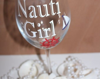 custom wine glass, nautical wine glass, beach wine glass, gift ideas, gifts for her, Preppy wine glass